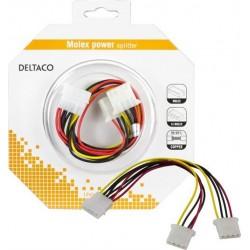 DELTACO Y-kaapeli laitteille, joissa on Molex-liitokset, 5 ja 12 V