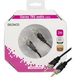 Deltaco äänikaapeli 3,5mm uros-uros, kullatut liitokset, 2m