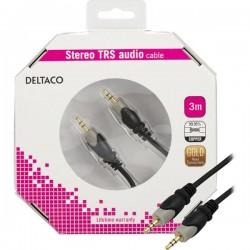Deltaco äänikaapeli 3,5mm uros-uros, kullatut liitokset, 3m