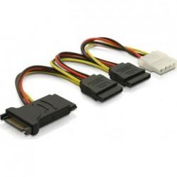 Y-virta-adapteri 15-pin SATA & Molex 4-pin, 3xSATA, 1xMolex, 15cm