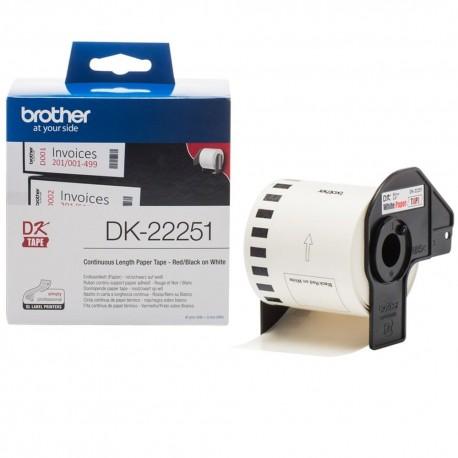 BROTHER DK22251 62MM BLACK RED etikettirulla