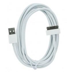 iPhone 4/4S ja iPad 1/2/3 - USB-kaapeli 2 metriä (valkoinen)